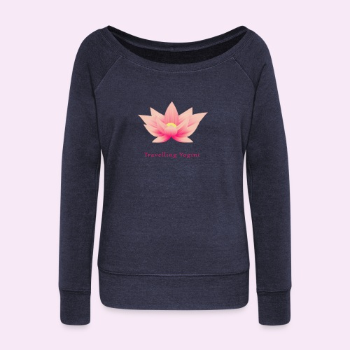 Travelling Yogini Logo - Women's Boat Neck Long Sleeve Top
