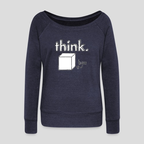 Think Outside The Box Illustration - Women's Boat Neck Long Sleeve Top