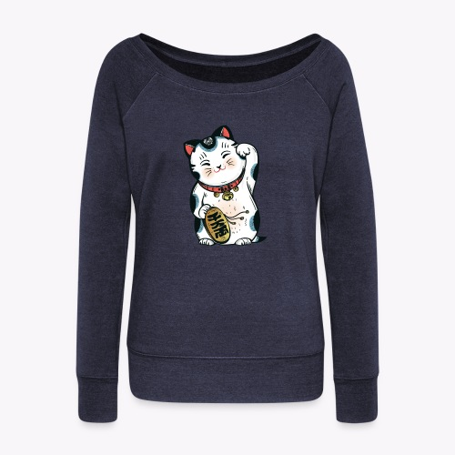 The Lucky Cat - Women's Boat Neck Long Sleeve Top