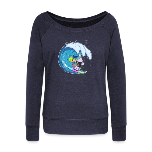 Surfing Unicorn - Women's Boat Neck Long Sleeve Top