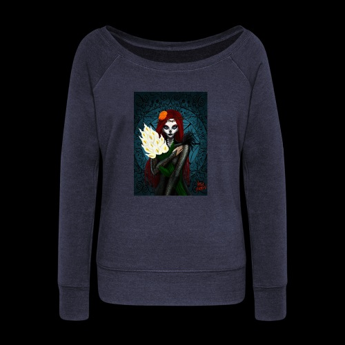Death and lillies - Women's Boat Neck Long Sleeve Top