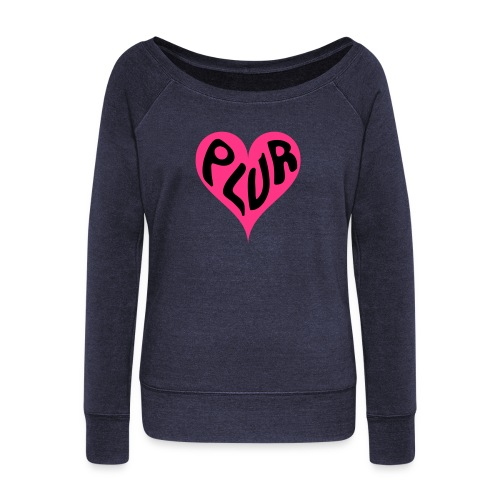 PLUR - Peace Love Unity and Respect love heart - Women's Boat Neck Long Sleeve Top