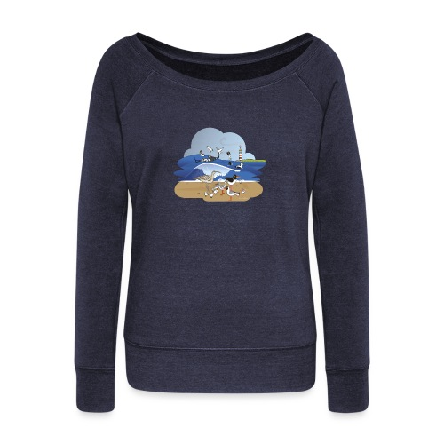 See... birds on the shore - Women's Boat Neck Long Sleeve Top