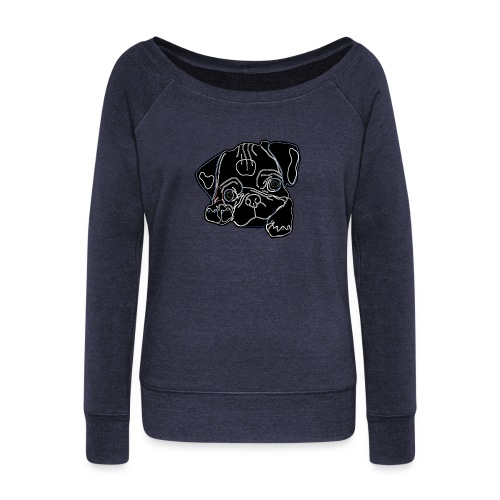 Pug Face - Women's Boat Neck Long Sleeve Top