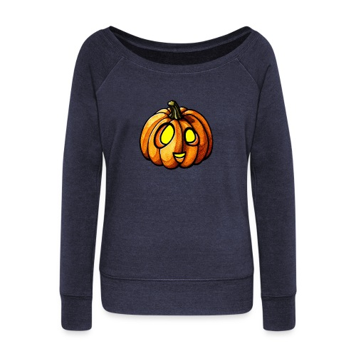 Pumpkin Halloween watercolor scribblesirii - Women's Boat Neck Long Sleeve Top