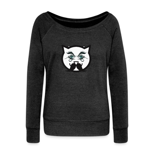 Hipster cat Boy by Tshirtchicetchoc - Pull Femme col bateau de Bella