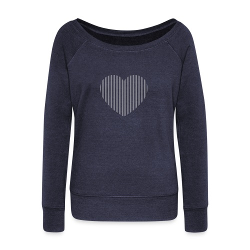 heart_striped.png - Women's Boat Neck Long Sleeve Top