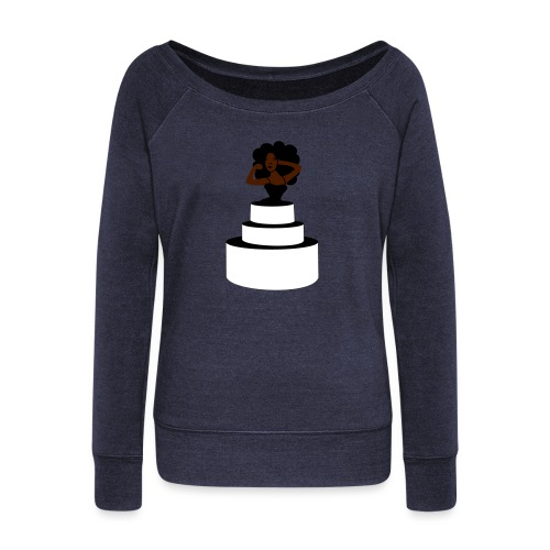 Woman Jumping Out From Cake - Women's Boat Neck Long Sleeve Top