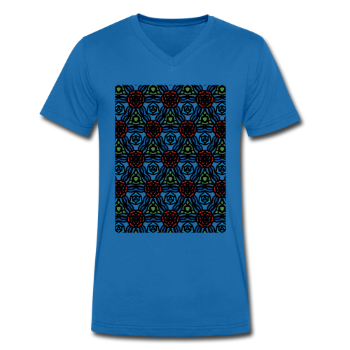 symmetric colourful roses pattern - Men's Organic V-Neck T-Shirt by Stanley & Stella