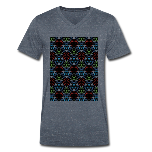 symmetric colourful roses pattern - Men's Organic V-Neck T-Shirt by Stanley & Stella