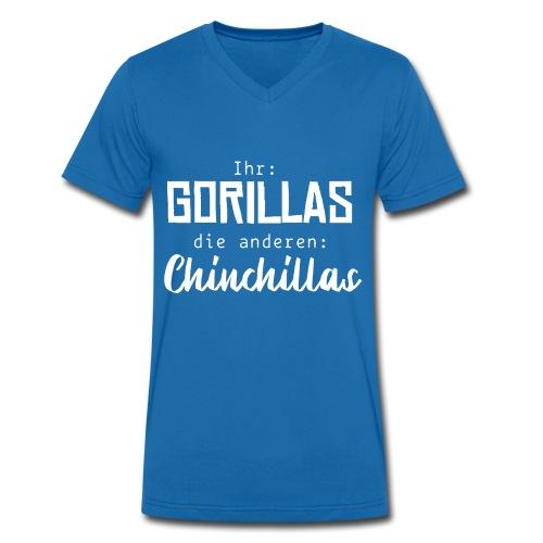 Gorillas vs. Chinchillas - Männer Bio-T-Shirt mit V-Ausschnitt von Stanley & Stella