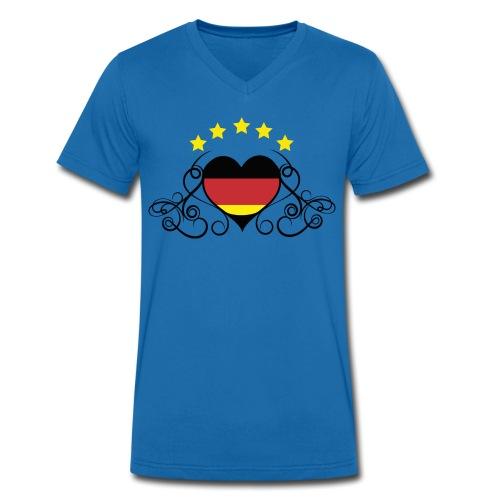 Tribal-Herz - Männer Bio-T-Shirt mit V-Ausschnitt von Stanley & Stella