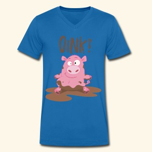 Toddlers & Kids Funny Piggy T Shirt - Men's Organic V-Neck T-Shirt by Stanley & Stella