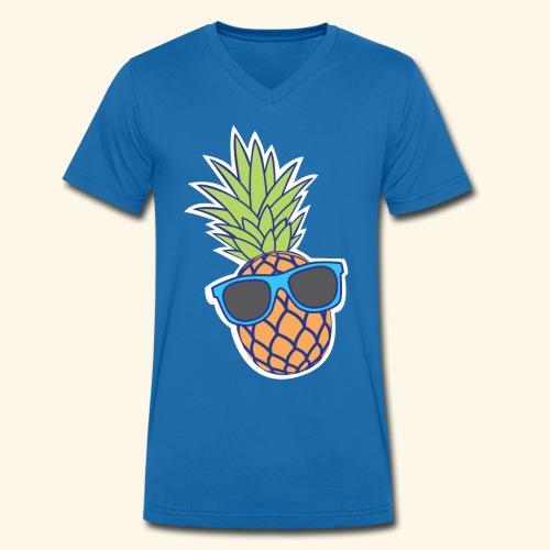ananas met zonnebril - Mannen bio T-shirt met V-hals van Stanley & Stella