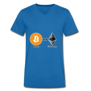 Bitcoin vs ethereum withe ok - Men's Organic V-Neck T-Shirt by Stanley & Stella