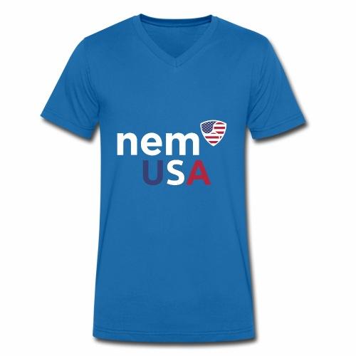 NEM USA white - T-shirt ecologica da uomo con scollo a V di Stanley & Stella