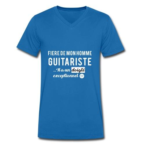 Tshirt fière de mon homme guitariste - T-shirt bio col V Stanley & Stella Homme