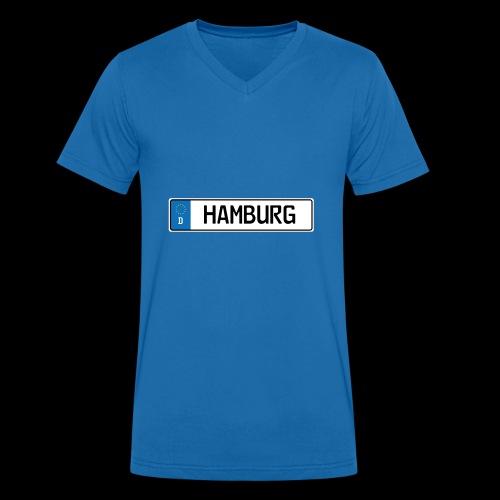 Kennzeichen Hamburg - Männer Bio-T-Shirt mit V-Ausschnitt von Stanley & Stella