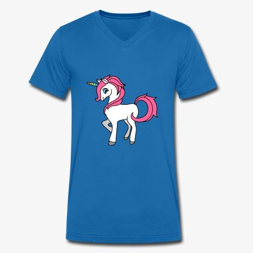 Süsses Einhorn mit rosa Mähne und Regenbogenhorn - Männer Bio-T-Shirt mit V-Ausschnitt von Stanley & Stella