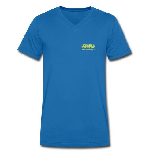 logo geel rechtsboven met jiphelmond - Mannen bio T-shirt met V-hals van Stanley & Stella