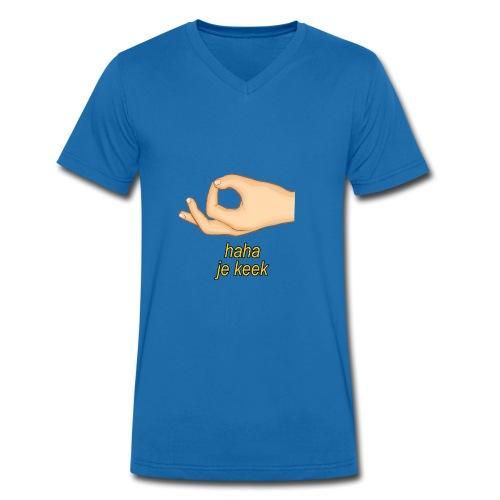Haha je keek - Mannen bio T-shirt met V-hals van Stanley & Stella