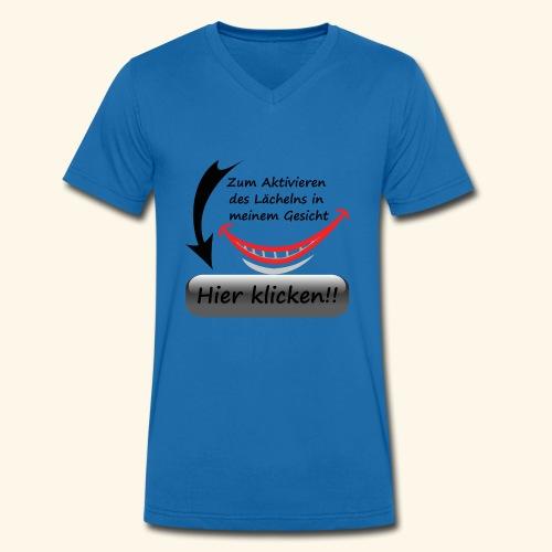 Lächeln Lachen Button Freude Gesicht Spaß flirten - Männer Bio-T-Shirt mit V-Ausschnitt von Stanley & Stella