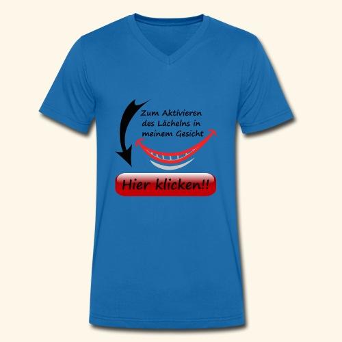 Lächeln Lachen Button Gesicht Freude Spaß - Männer Bio-T-Shirt mit V-Ausschnitt von Stanley & Stella