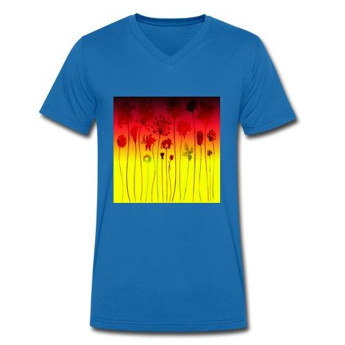 scharz-rot-gold-blume - Männer Bio-T-Shirt mit V-Ausschnitt von Stanley & Stella