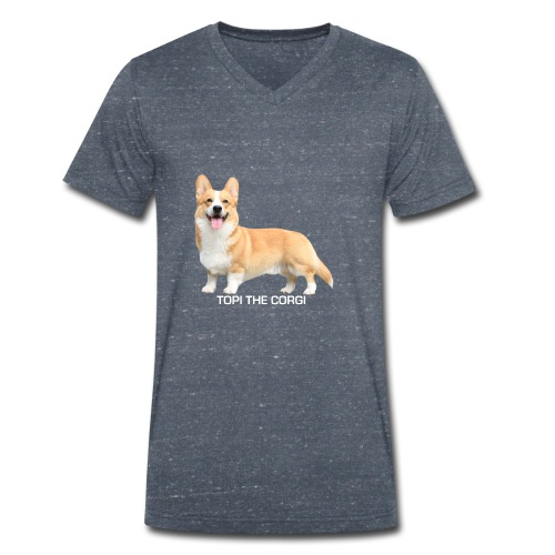 Topi the Corgi - White text - Men's Organic V-Neck T-Shirt by Stanley & Stella