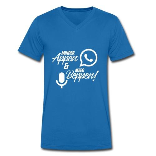 minder appen en meer beppen wit - Mannen bio T-shirt met V-hals van Stanley & Stella