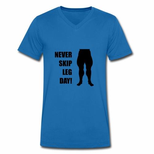 006 never skip leg day schwarz - Männer Bio-T-Shirt mit V-Ausschnitt von Stanley & Stella