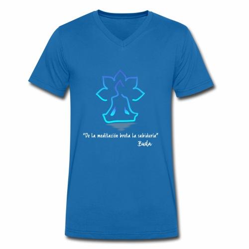 De la meditación brota la sabiduría blanco - Camiseta ecológica hombre con cuello de pico de Stanley & Stella