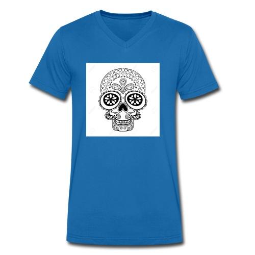 51457190 Disegno a mano Cranio in stile zentangle - T-shirt ecologica da uomo con scollo a V di Stanley & Stella