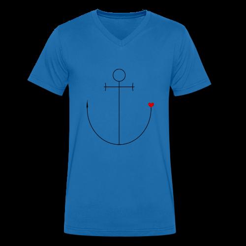 Anker mit Herz - Männer Bio-T-Shirt mit V-Ausschnitt von Stanley & Stella