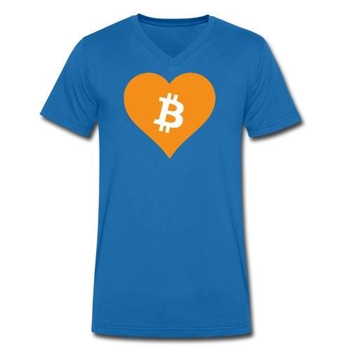 Bitcoin Heart - Mannen bio T-shirt met V-hals van Stanley & Stella