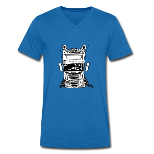 0323 Truck in ZWART en WIT - Mannen bio T-shirt met V-hals van Stanley & Stella