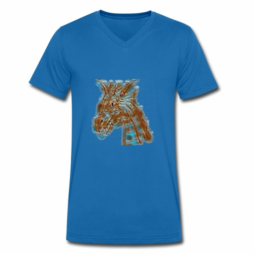 dragon head - Men's Organic V-Neck T-Shirt by Stanley & Stella
