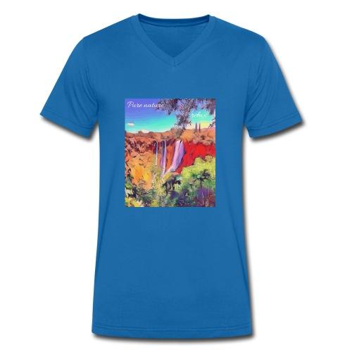 Wasserfall, Berge, Pflanzen, - Pure nature, relax. - Männer Bio-T-Shirt mit V-Ausschnitt von Stanley & Stella