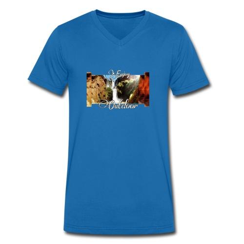 Wasserfall, Berge, Pflanzen, - Enjoy Outdoor - Männer Bio-T-Shirt mit V-Ausschnitt von Stanley & Stella