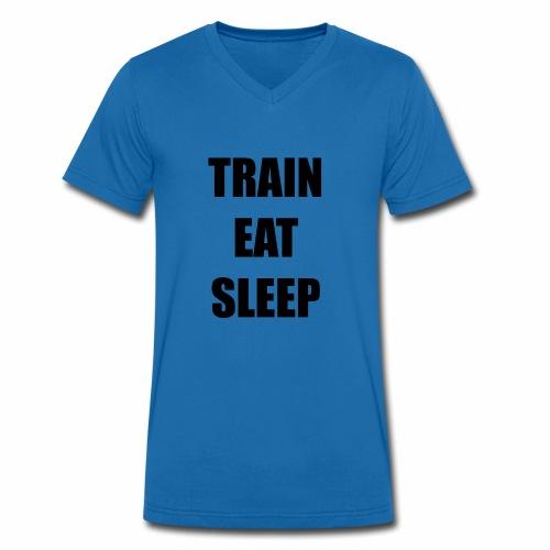008 train eat sleep schwarz - Männer Bio-T-Shirt mit V-Ausschnitt von Stanley & Stella