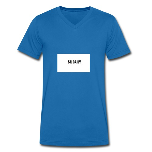 sandefjordaily - Økologisk T-skjorte med V-hals for menn fra Stanley & Stella