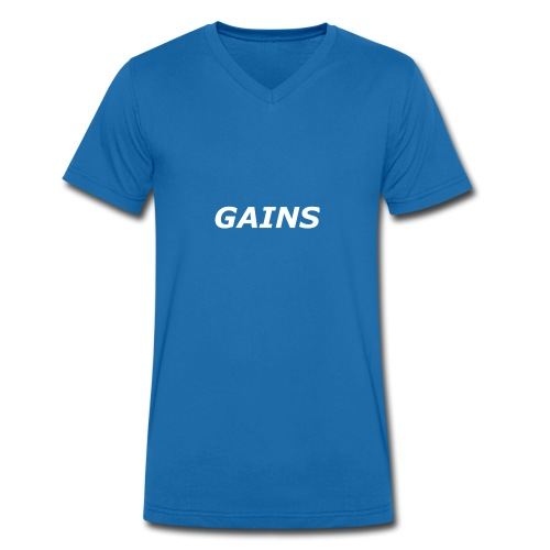 GAINS white text - Men's Organic V-Neck T-Shirt by Stanley & Stella