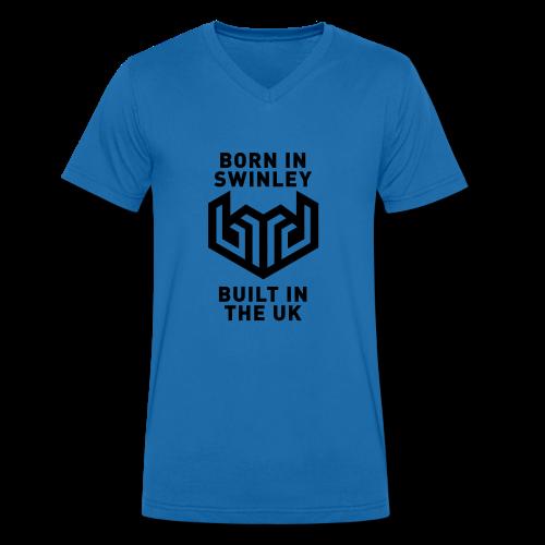 bird logo born in swinley - Men's Organic V-Neck T-Shirt by Stanley & Stella