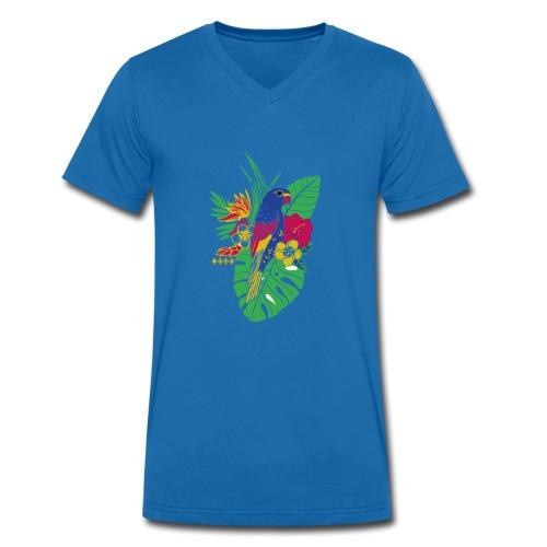 gaya flower parrot - Männer Bio-T-Shirt mit V-Ausschnitt von Stanley & Stella