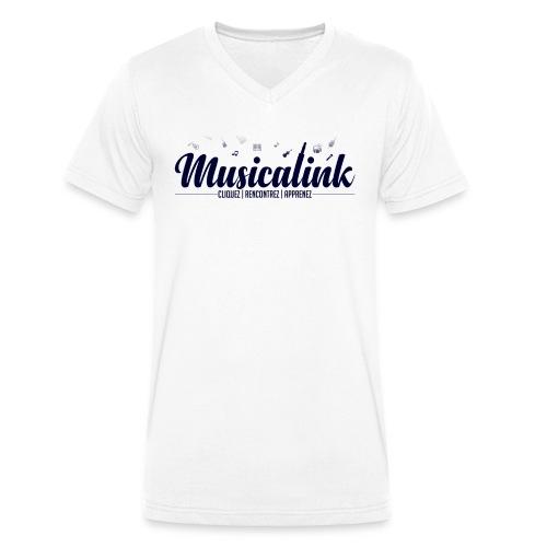 Musicalink blue - T-shirt bio col V Stanley & Stella Homme
