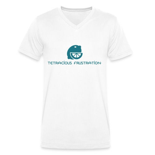 Coloured Tetracious Logo - Men's Organic V-Neck T-Shirt by Stanley & Stella