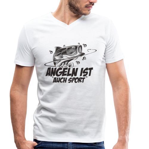 Angeln ist auch Sport - Männer Bio-T-Shirt mit V-Ausschnitt von Stanley & Stella