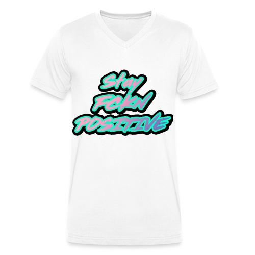 Stay FCKN Positive - Pink-Türkis Sommer Shirt - Männer Bio-T-Shirt mit V-Ausschnitt von Stanley & Stella
