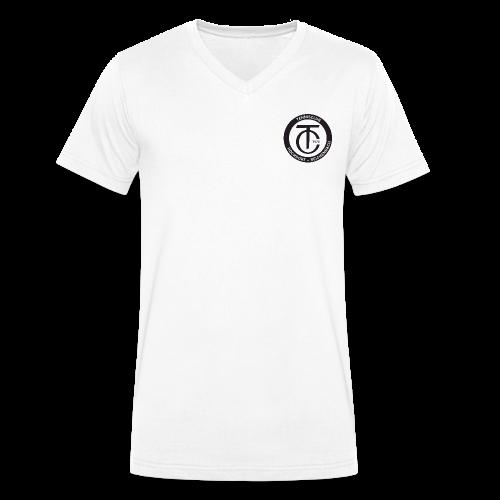 TCHR Logo Schwarz-Weiß - Männer Bio-T-Shirt mit V-Ausschnitt von Stanley & Stella