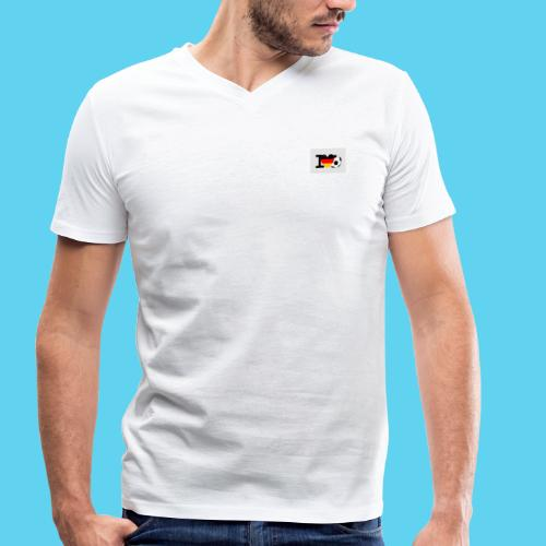 I Love Fussball Deutschland - Männer Bio-T-Shirt mit V-Ausschnitt von Stanley & Stella